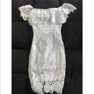 White lace petite off the shoulder dress